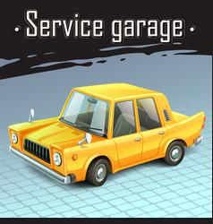 yellow funny car vector image vector image