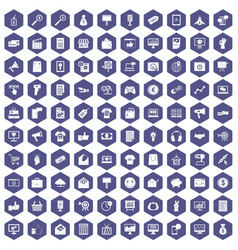 100 internet marketing icons hexagon purple vector image vector image