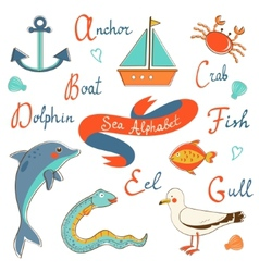 Cute sea alphabet vector image vector image