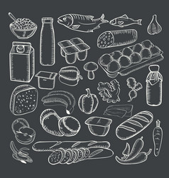 food doodles collection white chalk on a vector image vector image