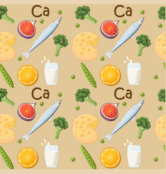 food rich in calcium seamless pattern vector image vector image