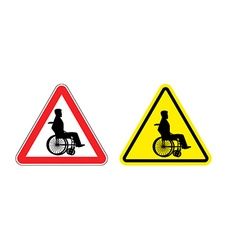 Attention disabled on wheelchair Warning sign vector image