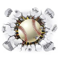 Baseball and old plaster wall damage vector