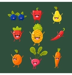 Cheerful fruit and vegetables Food with cute vector image