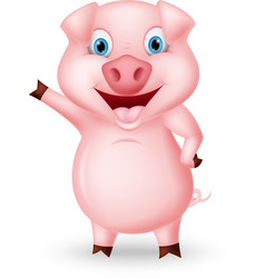 cute pig cartoon presenting vector image