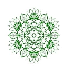 Green Flower Mandala Over White vector image vector image