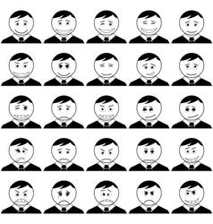 Office smileys set black contour vector image vector image