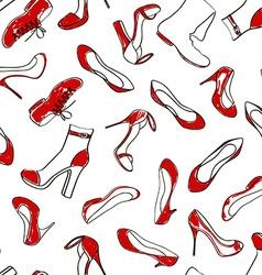 Seamless pattern of women footwear vector image vector image