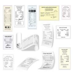 commercial cheques flat set isolated on vector image vector image