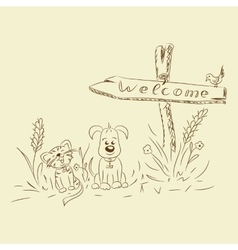 freehand drawing Pointer cat dog vector image