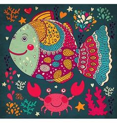 Happy fish vector image vector image