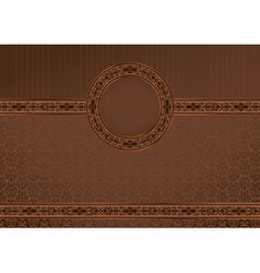 Vintage horizontal card on damask background vector image vector image