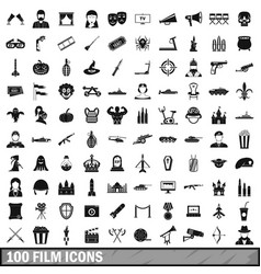 100 film icons set simple style vector