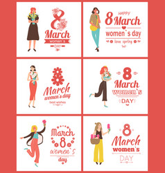 8 march womens day posters with greetings set vector image