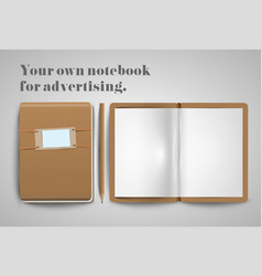 A notebook and a pencil vector