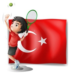 A tennis player in front of the flag of Turkey vector image