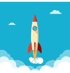 Ahead concept rapid fly of the rocket in a cloudy vector image