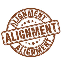 Alignment brown grunge stamp vector