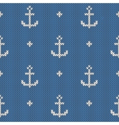 Anchor pattern on wool knitted texture vector