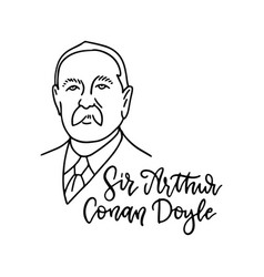arthur conan doyle linear sketch portrait vector image