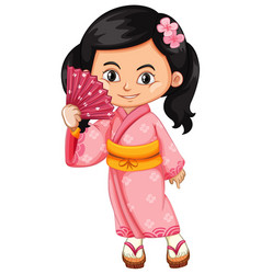 Asian girl wearing traditional japanese dress vector