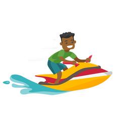 black man riding a jet ski scooter vector image