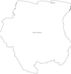 Black White Suriname Outline Map vector image