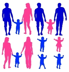 Blue pink silhouettes Gay lesbian couples and vector image