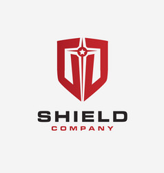 bold shield logo icon template on white background vector image