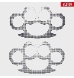 Brass knuckles vintage halftone style vector