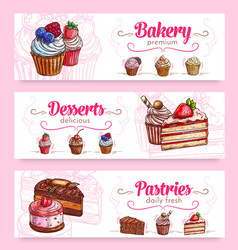 Cake and cupcake desserts banner for food design vector