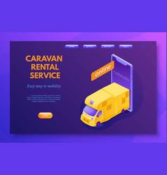 caravan rental service landing page layout vector image
