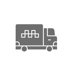cargo taxi truck delivery gray icon vector image