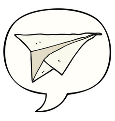 Cartoon paper airplane and speech bubble vector