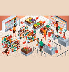 Cashier concept background isometric style vector