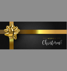 christmas gift box web banner with gold ribbon vector image