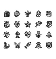christmas gingerbread black glyph icons set vector image