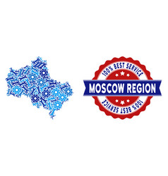 Collage moscow oblast map of repair tools vector