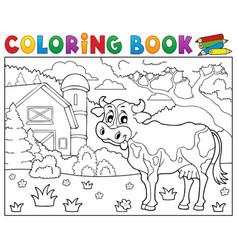 coloring book cow near farm theme 2 vector image