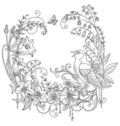 coloring flowers and birds 7 vector image