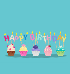 Cute cupcakes with candles happy birthday vector