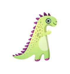 cute green smiling dinosaur with violet plates vector image
