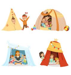 Cute little children playing and sitting in a tent vector