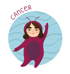 cute zodiac sign - cancer vector image