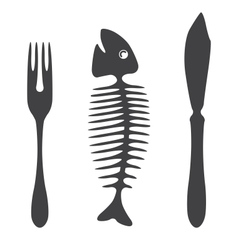 Cutlery knife fork fish vector