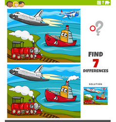 differences educational game with transport vector image