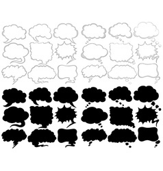 Different speech bubble designs in black and white vector image
