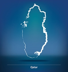 Doodle Map of Qatar vector image