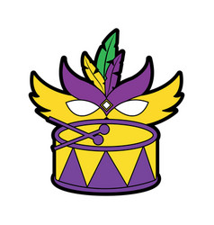 Drum with mask mardi gras carnival icon image vector