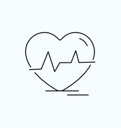 ecg heart heartbeat pulse beat flat icon green vector image